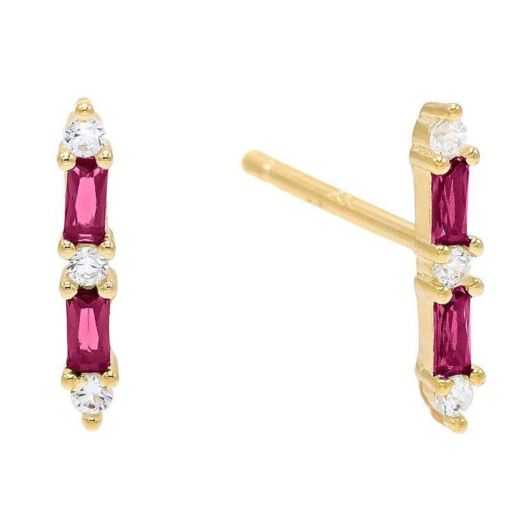 Ruby Baugette Trendy Kim Stud Earring Embellished with Austrian Crystals in 18K Gold Plated