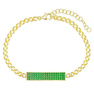 Austrian Elements Pav'e Bar Curb Chain ID Bracelet in 14K Gold