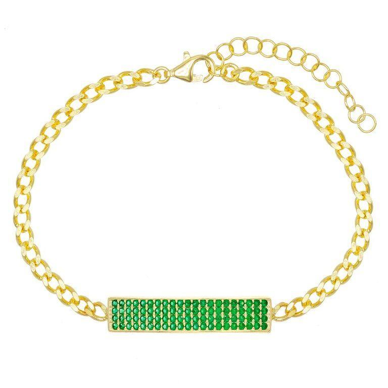 "Pave Emerald Chain Bracelet 7.8"" +2"" Embellished with Swarovski Crystals in 18K Gold Plated"