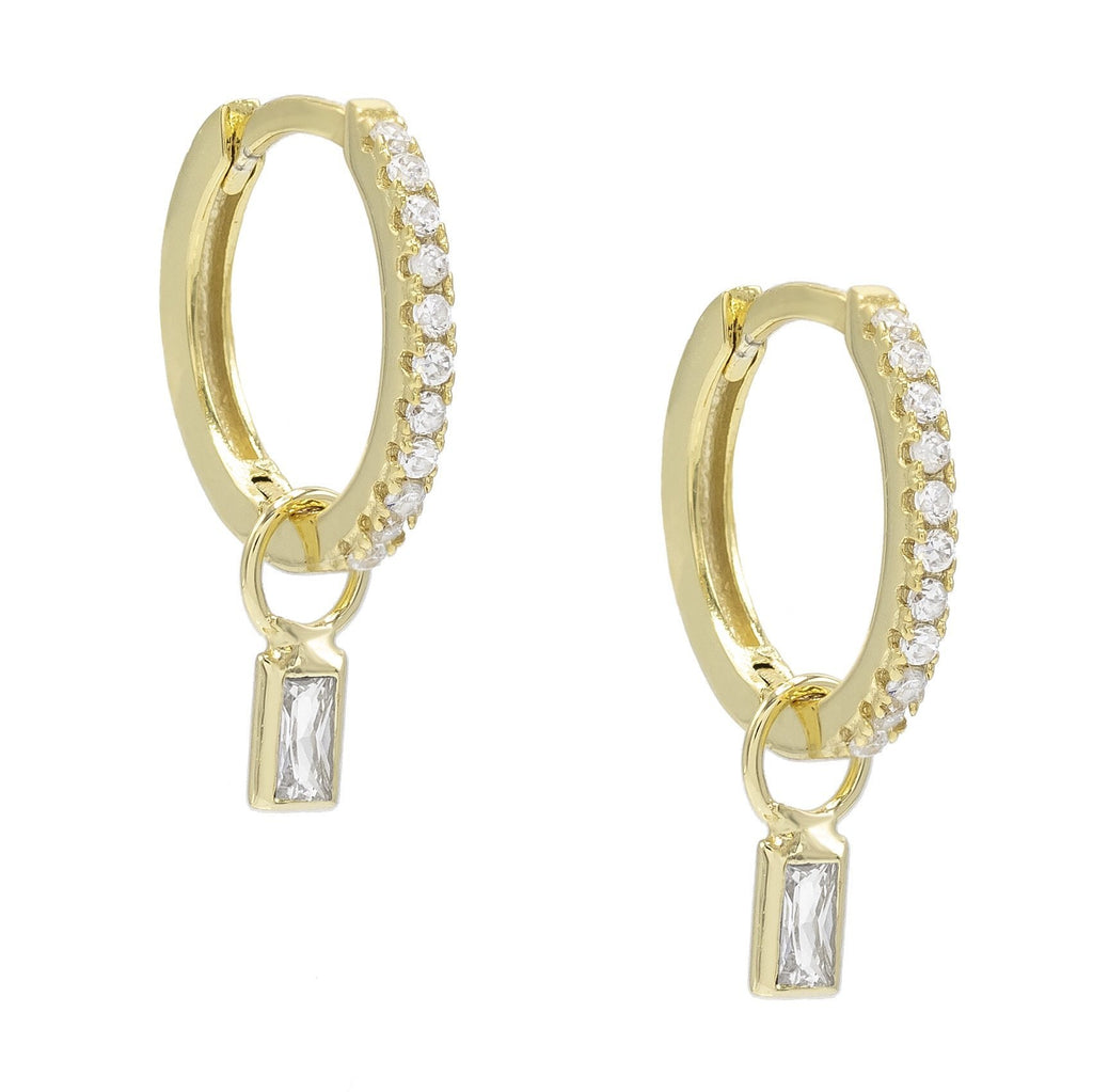 Pave Mini Dainty White Topaz Stud Earringin 18K Gold Plated