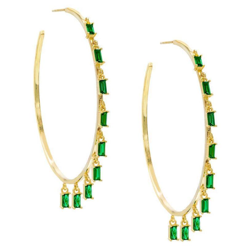 "Pave Mini Baugette Dainty Emerald 1.4"" Hoop Earring Embellished with Austrian Crystals in 18K Gold Plated"