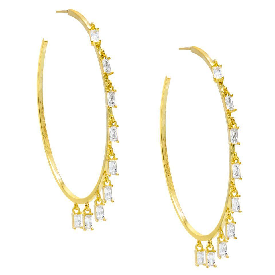 "Pave Mini Baugette Dainty White Topaz 1.4"" Hoop Earring Embellished with Austrian Crystals in 18K Gold Plated"