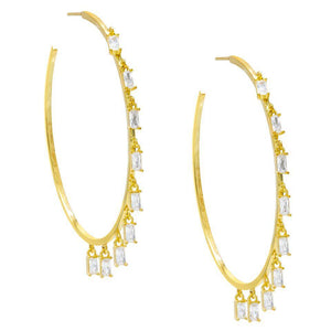 "Pave Mini Baugette Dainty White Topaz 1.4"" Hoop Earring Embellished with Swarovski Crystals in 18K Gold Plated"