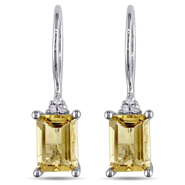 2.50 CT Genuine Citrine Baugette Gemstone Drop Earringin 18K White Gold Plated, Earring, Golden NYC Jewelry, Golden NYC Jewelry  jewelryjewelry deals, swarovski crystal jewelry, groupon jewelry,, jewelry for mom,