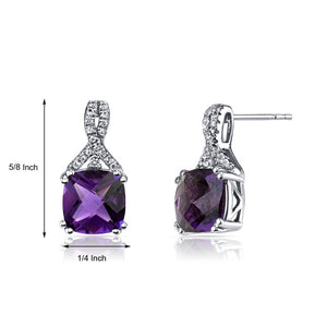 2.00 CT Cushion Cut Amethyst Stud Earring in 18K White Gold Plated, Earring, Golden NYC Jewelry, Golden NYC Jewelry  jewelryjewelry deals, swarovski crystal jewelry, groupon jewelry,, jewelry for mom,
