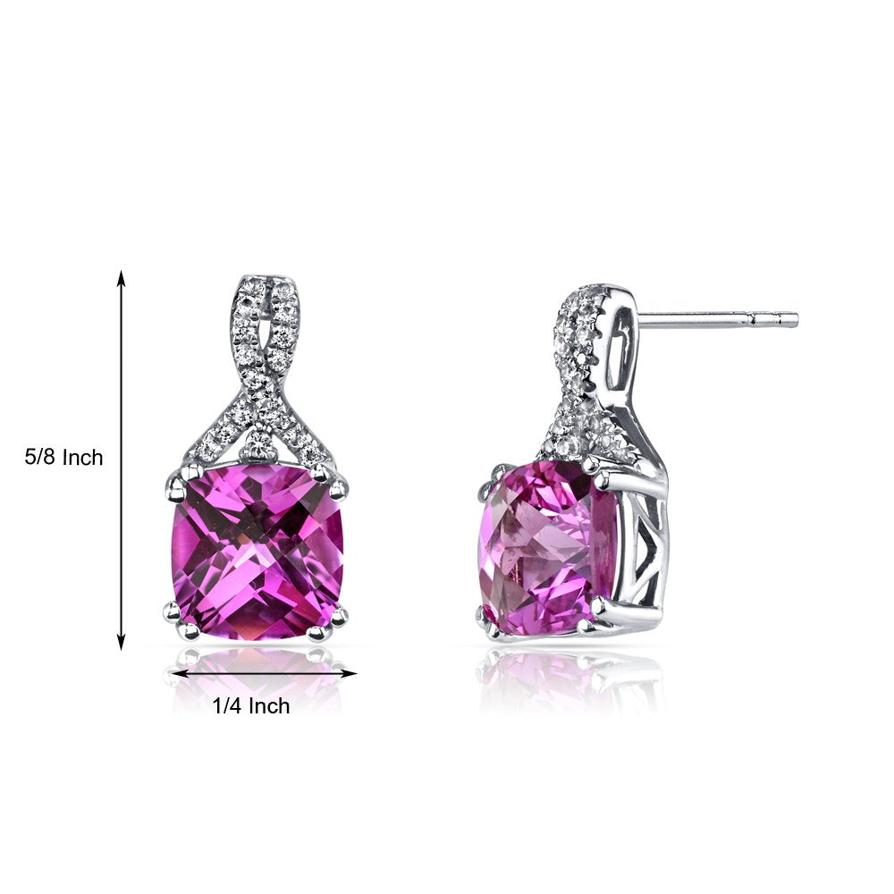 2.00 CT Cushion Cut Pink Tourmaline Stud Earring in 18K White Gold Plated, Earring, Golden NYC Jewelry, Golden NYC Jewelry  jewelryjewelry deals, swarovski crystal jewelry, groupon jewelry,, jewelry for mom,