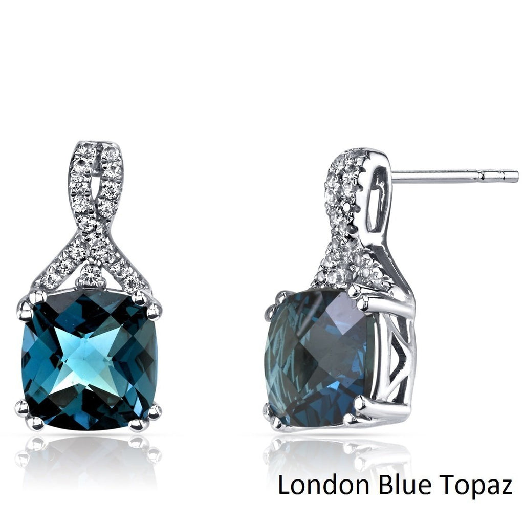 2.00 CT Cushion Cut London Blue Topaz Stud Earring in 18K White Gold Plated, Earring, Golden NYC Jewelry, Golden NYC Jewelry  jewelryjewelry deals, swarovski crystal jewelry, groupon jewelry,, jewelry for mom,