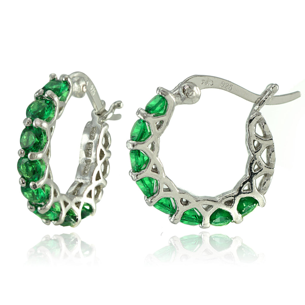 "4.00 CT Emerald Gemstone 1"" French Lock Hoop Earringin 18K White Gold Plated, Earring, Golden NYC Jewelry, Golden NYC Jewelry  jewelryjewelry deals, swarovski crystal jewelry, groupon jewelry,, jewelry for mom,"