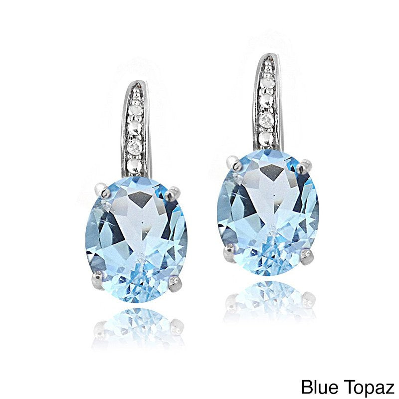 2.55 CTTW Blue Topaz Pav'e Hookback Earrings in 18K White Gold, , Golden NYC Jewelry, Golden NYC Jewelry  jewelryjewelry deals, swarovski crystal jewelry, groupon jewelry,, jewelry for mom,