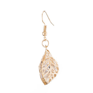 Filigree Leaf Drop Earring in 18K Gold Plated
