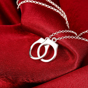 Handcuff Necklace in 18K White Gold Plated