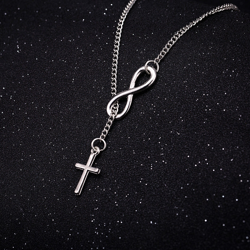 Infinity Cross Necklace in 18K White Gold Plated