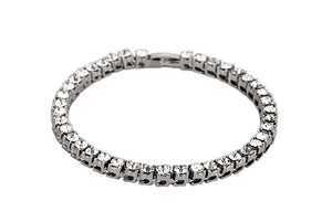 Iced Out 18K White Gold Plated Tennis Bracelet 7.8""