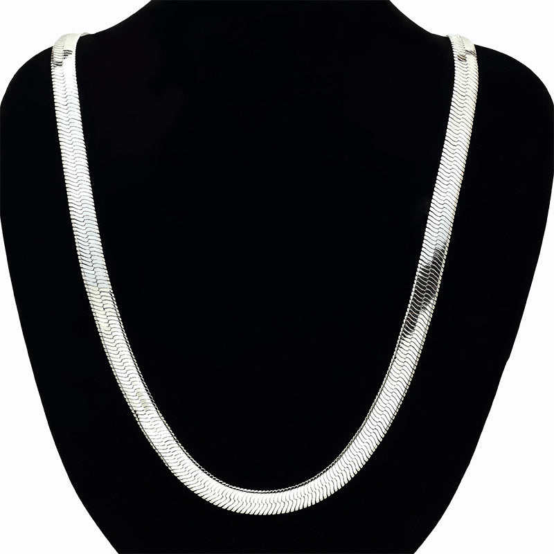 Flat Herringbone 1mm 18K White Gold Filled Chain 30""
