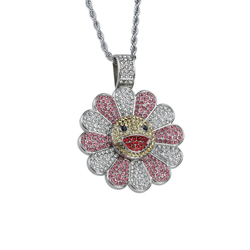 Takashi Smiley Sunflower Spinning 18K White Gold Plated Necklace - Silver/Pink