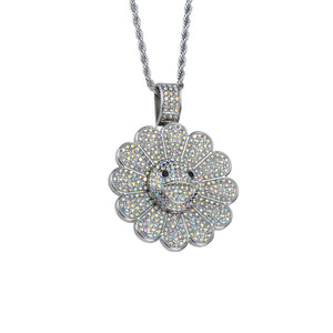 Takashi Smiley Sunflower Spinning 18K White Gold Filled Necklace - Silver/Silver