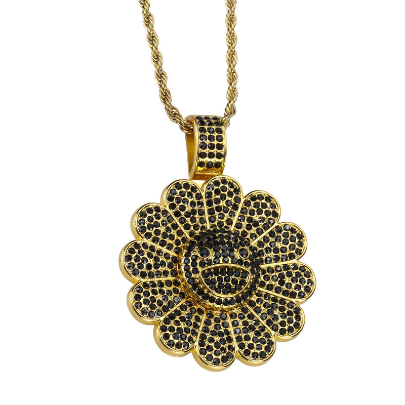 Takashi Smiley Sunflower Spinning 18K Black Gold Plated  Necklace - Gold/Black