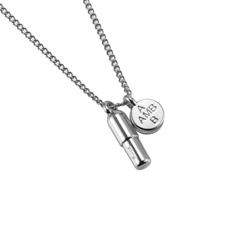 Cremation Pendant in 18K White Gold Filled with Chain