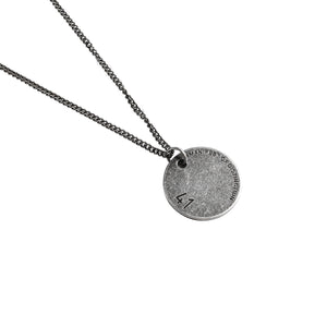 Circle Disc Pendant in 18K White Gold Filled with Chain