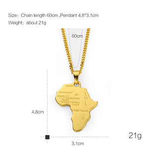 African Country 18K Gold Filled Pendant Necklace
