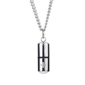 Cremation Cross 18K White Gold Filled Pendant Necklace - Silver