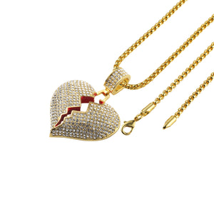 Iced Out Broken Heart Necklace in 18K Gold Plated with Chain