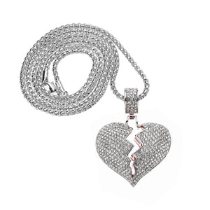 Iced Out Broken Heart Necklace in 18K White Gold Plated with Chain