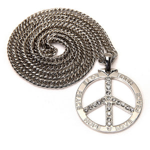 LOVE PEACE HOPE Necklace in 18K White Gold Plated with Chain