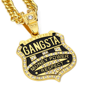 Iced Out GANGSTA Badge Necklace in 18K Gold Plated with Chain