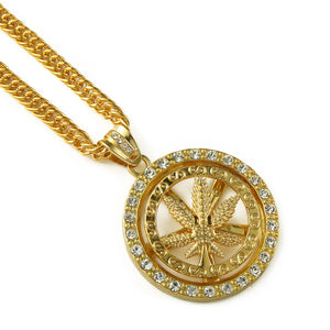 Iced Out Marijuna Spinner Necklace in 18K Gold Filled with Chain