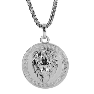 Lion Medallion 18K White Gold Filled Pendant Necklace