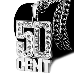 Iced Out 50CENT Necklace in 18K Gold Plated with Chain