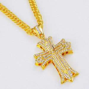 Iced Out Cross Necklace in 18K Gold Filled with Chain