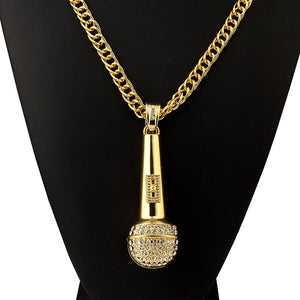 Iced Out Microphone Necklace in 18K Gold Plated with Chain