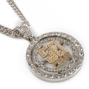 Iced Out 50CENT Spinner Necklace in 18K Gold Filled with Chain