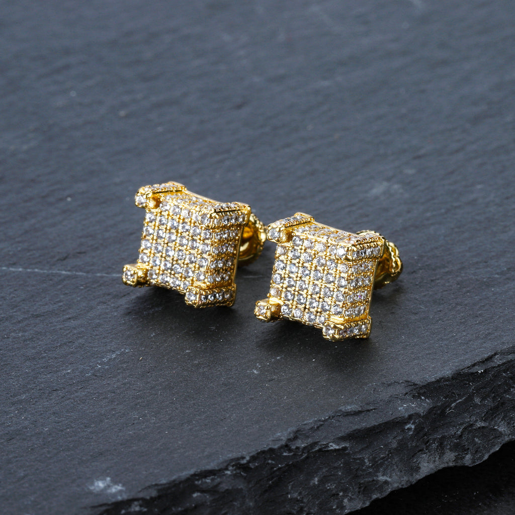 Iced Out Screwback 18K Gold Filled Square Cut Earring