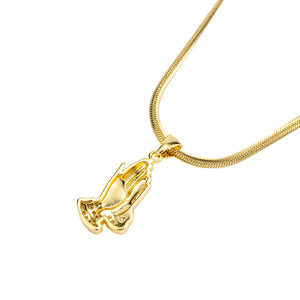 Iced Out Praying Hands Necklace in 18K Gold Plated with Diamond Cut Chain