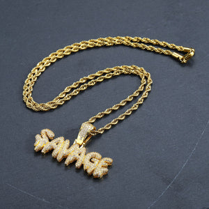Iced Out SAVAGE Necklace in 18K Gold Plated with Diamond Cut Chain