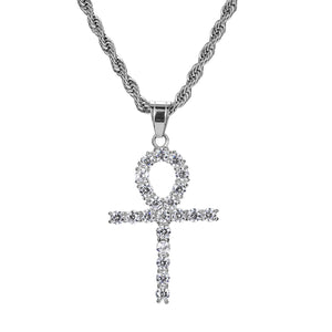 Iced Out Celtic Sun Cross 18K White Gold Plated with Diamond Cut Chain