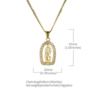 Icedout 18K Gold Plated Praying Mother Mary Pendant Necklace