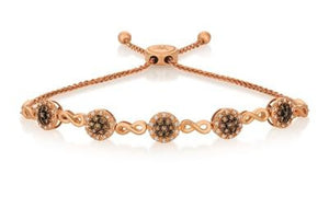 Simulated Chocolate Diamonds 18K Rose Gold Bracelet
