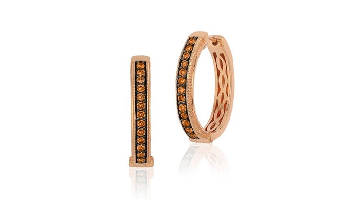 Choco & Vanilla Swarovski Elements Hoops Earrings in 14K Rose Gold, , Golden NYC Jewelry, Golden NYC Jewelry  jewelryjewelry deals, swarovski crystal jewelry, groupon jewelry,, jewelry for mom,