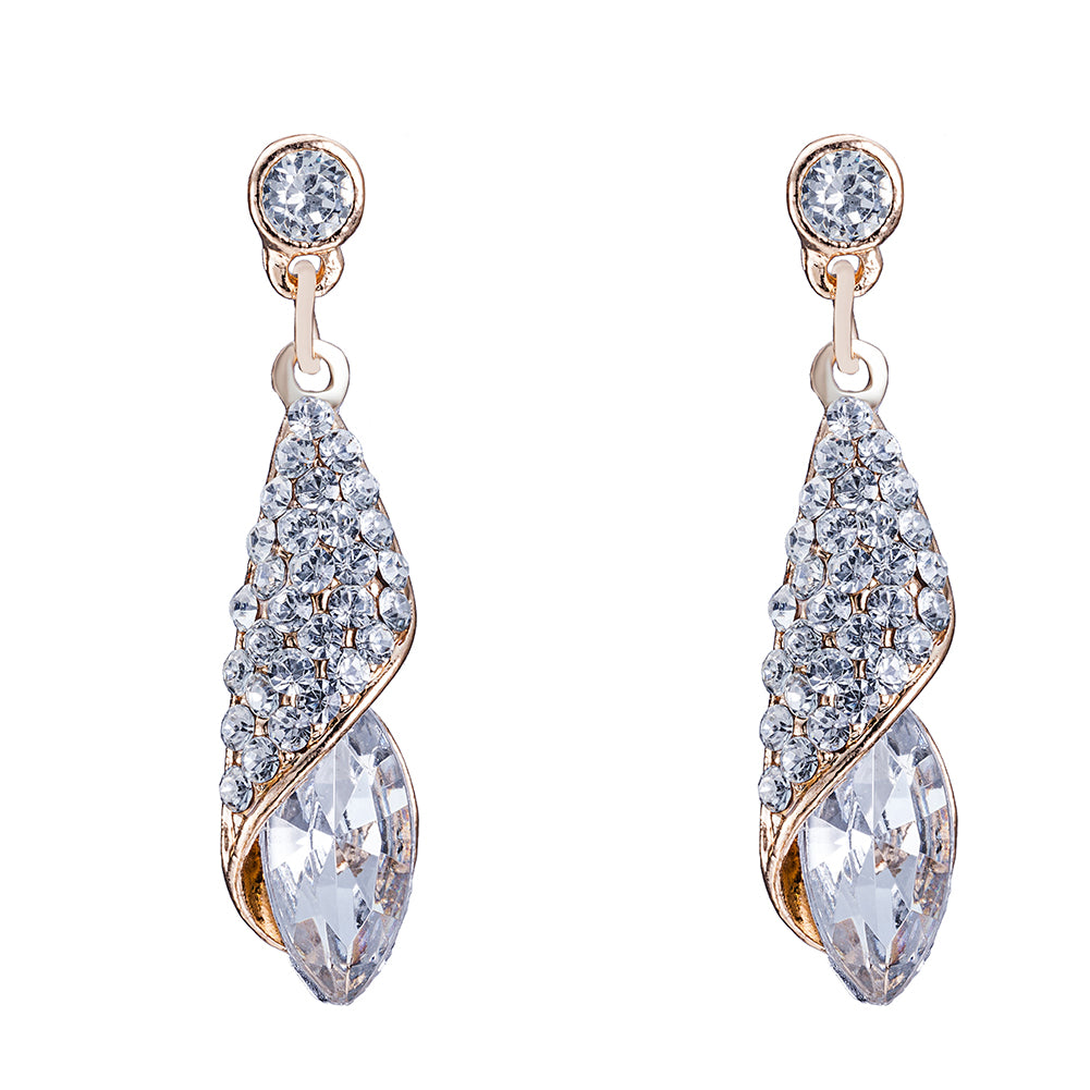 Swarovski Crystals White Topaz Drop Earring in 18K White Gold Plated