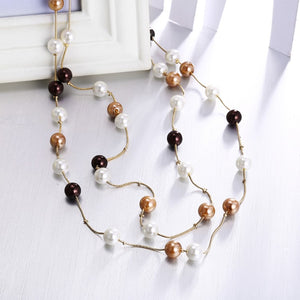 Metallic Toned Dangling Pearl Statement Necklace, , Golden NYC Jewelry, Golden NYC Jewelry fashion jewelry, cheap jewelry, jewelry for mom,