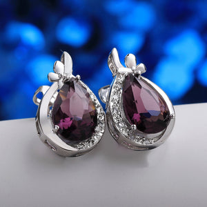 Austrian Crystal Purple Stud Earring in 18K White Gold Plated