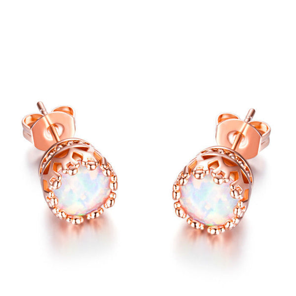 Fire Opal Crown Stud Earrings in 18K Rose Gold Plating - Golden NYC Jewelry www.goldennycjewelry.com fashion jewelry for women