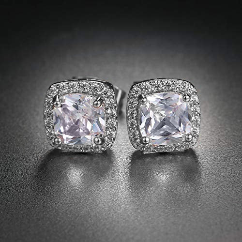 3.50 CTTW Cushion Cut Cubic Zirconia Sterling Silver Studs