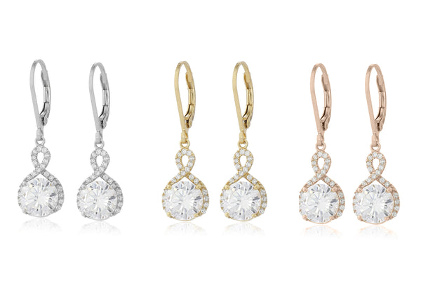 Infinity Crystal Drop Earrings Made with Swarovski Crystal in White Gold, Yellow Gold, and Rose Gold