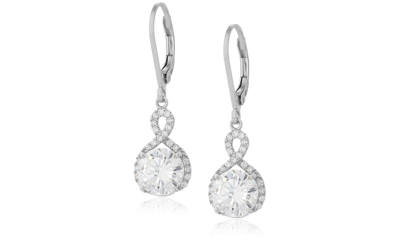173b20550 Infinity Crystal Drop Earrings Made with Swarovski Crystal in White Gold,  Yellow Gold, and