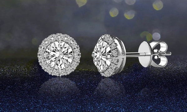3.44 CTTW Halo Stud Earrings with Swarovski Elements - Golden NYC Jewelry www.goldennycjewelry.com fashion jewelry for women